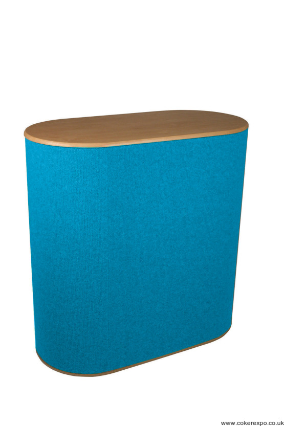 Double d workstation in light blue with beech counter top