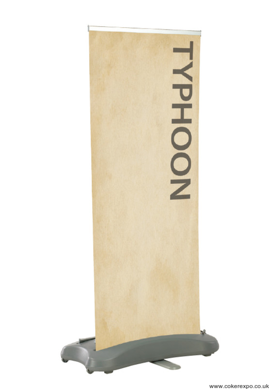 Typhoon outdoor banner stand with graphic display