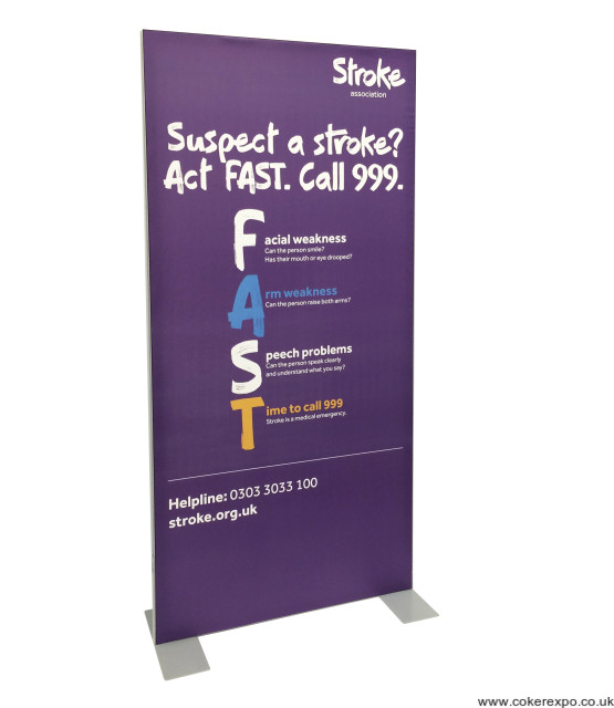 Vector lite display stand with stretch fabric graphic.