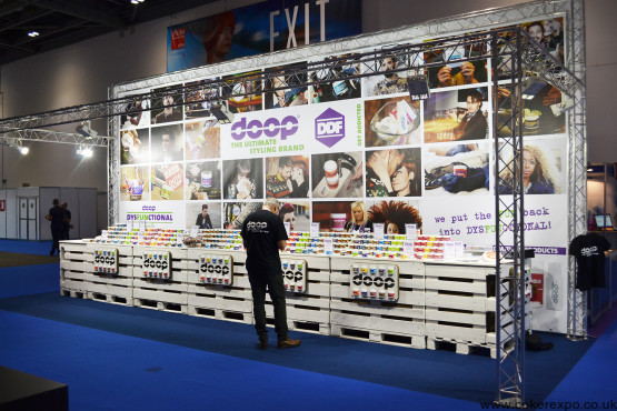 Exhibition stand design showing provision for banners and lighting