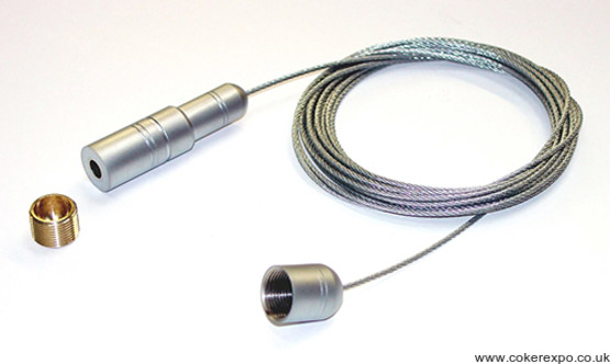 Cable for suspended window display systems.