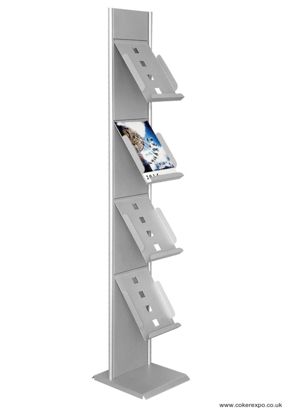 A4 literature rack with 4 shelves.