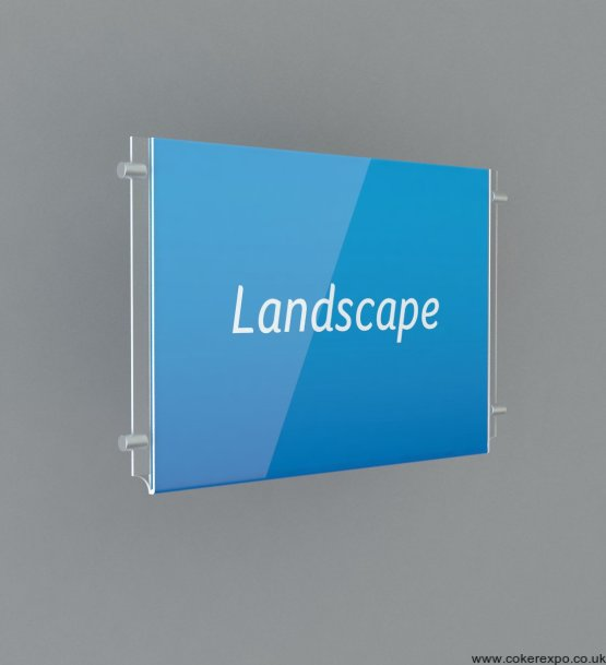 Landscapet clear plastic poster holders for wire cable hanging