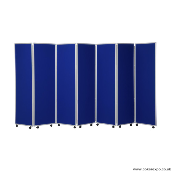 Mobile office concertina screen dividers on wheels.
