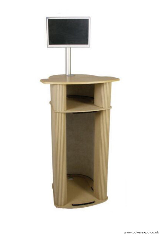 Information desk, data pod with LCD stand and storage shelf