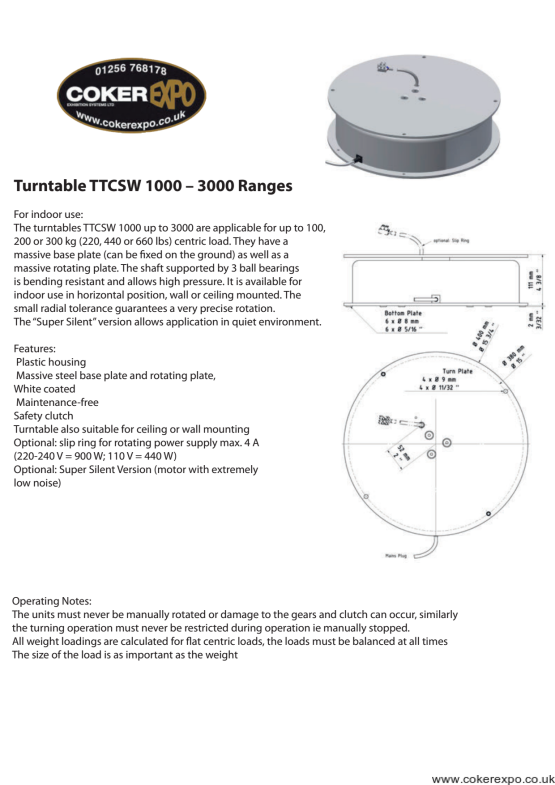 TTCSW3000 turn table with slip rings