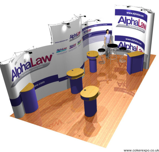 Custom shaped pop up display stands at an exhibition event