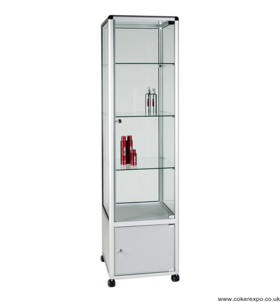 Alpha glass tower display cabinet with base storage area.