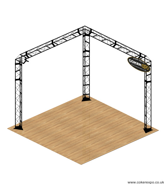 L Shape corner exhibition stand black steel gantry