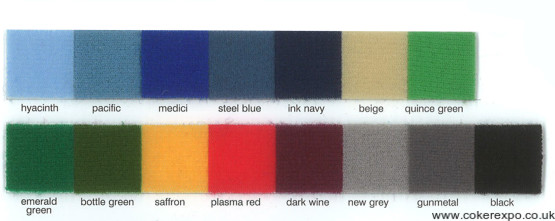 Colour swatch for folding display stands.