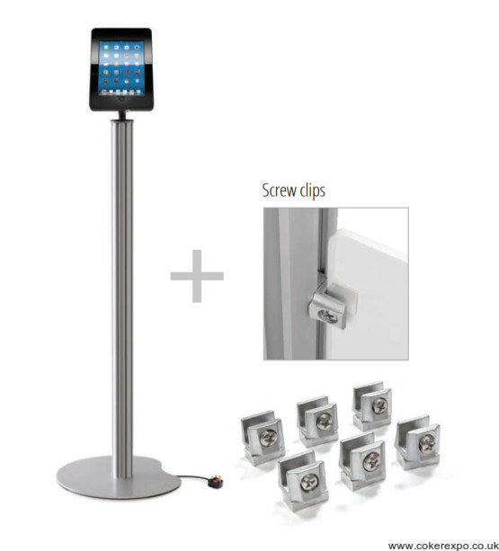 ipad pos stand with sign clips