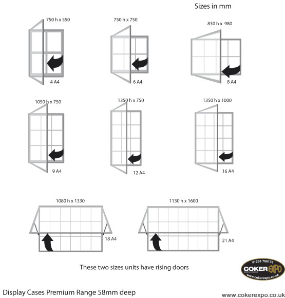 Locking notice board cases range of sizes diagram