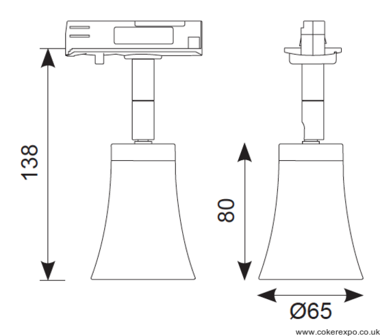 5w track light dimensions drawing