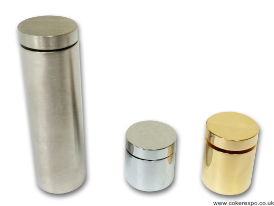 Satin chrome, chrome or gold stand offs 19mm diameter