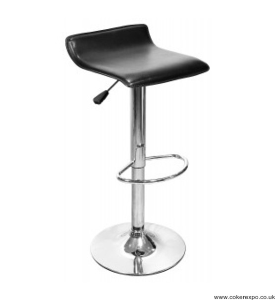 Coblate exhibition bar stool, gas lift, chrome with black seat
