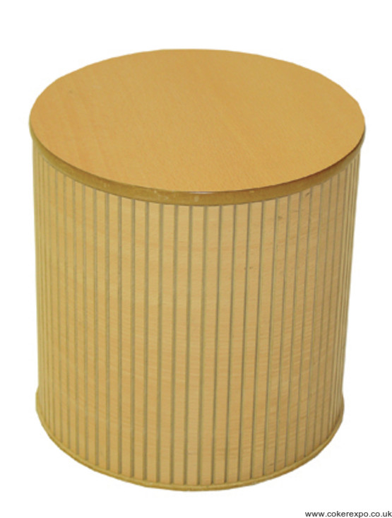 Round wood effect display plinth