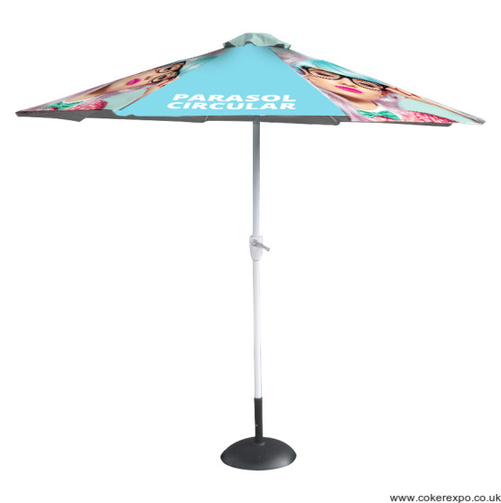 Printed promotional parasol with branding