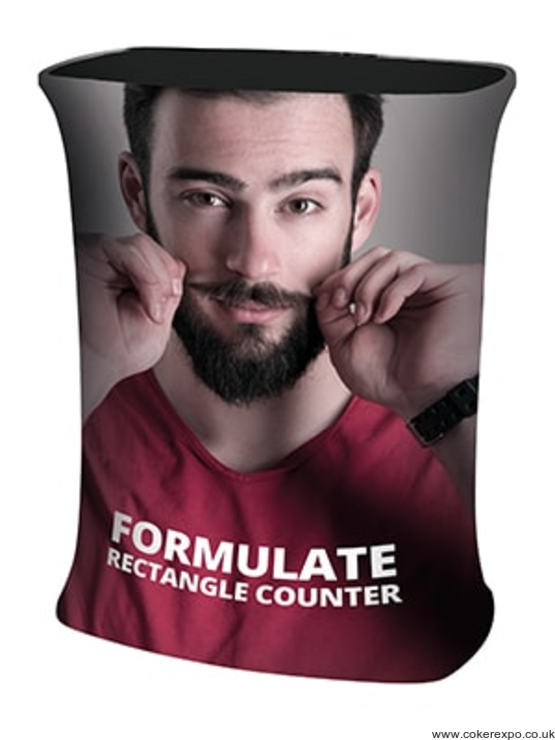 Formulate counter with tension fabric graphic
