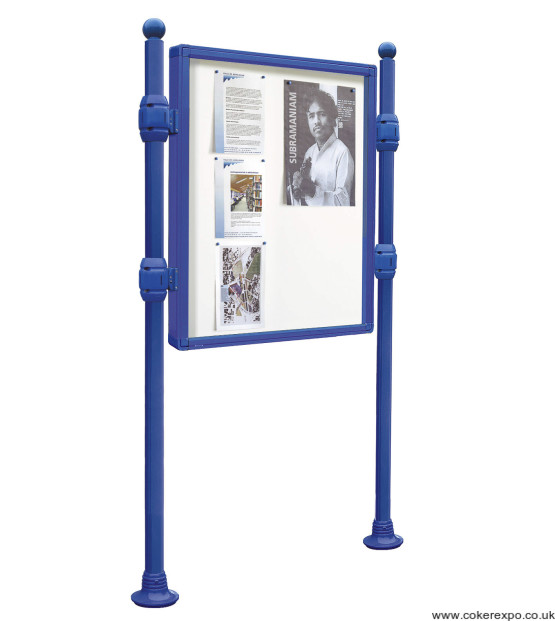 Street bulletin board on posts in blue paint finish