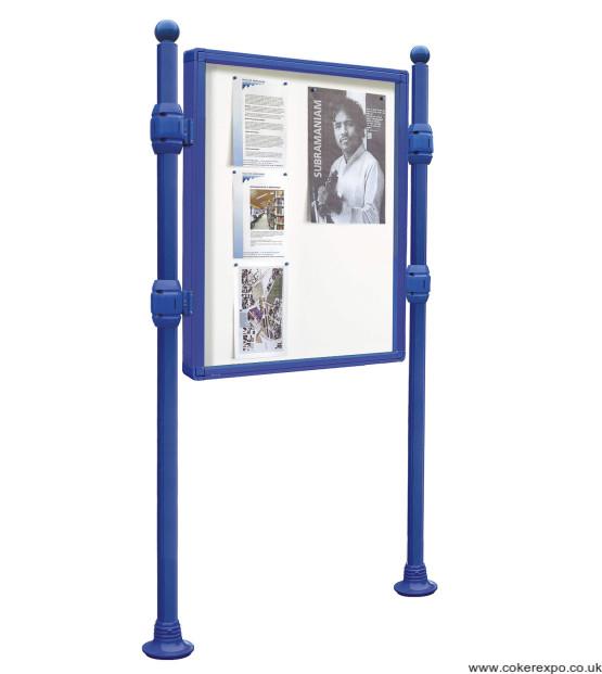 Street bulletin board on posts in blue paint finish