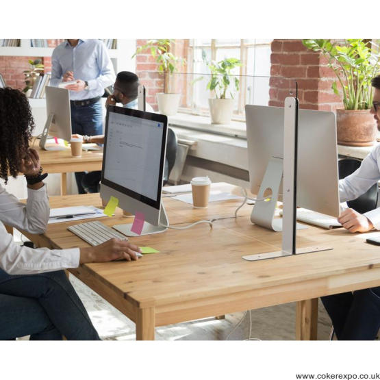 Office and desk safety divide in glass