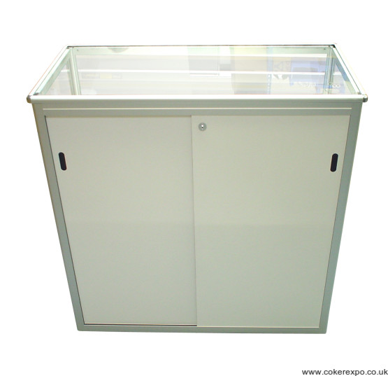 Secure sliding locking doors on folding counter