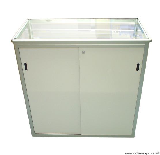 Secure sliding locking doors on folding counter