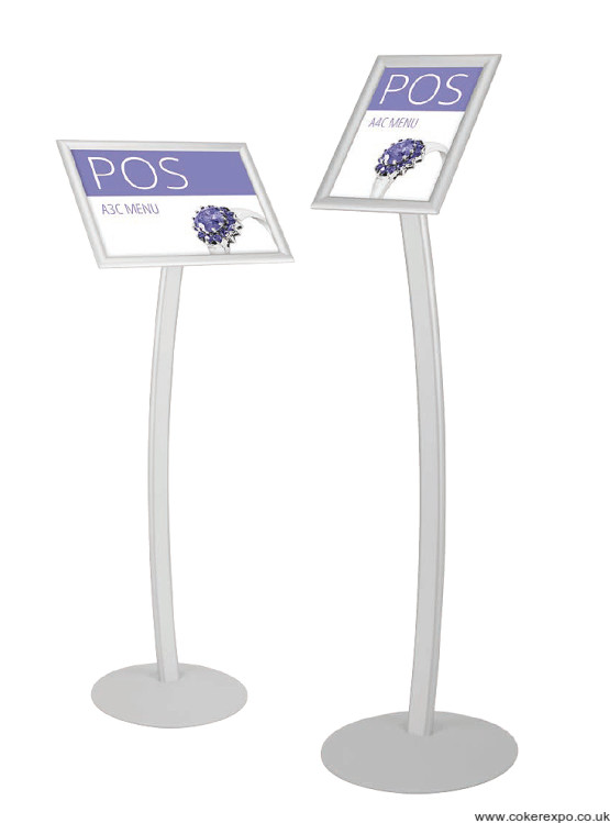 A4 Curved menu information stand.