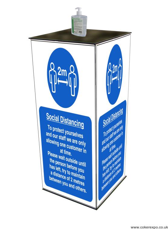 Hand gel sanitiser station for inside and outside public areas