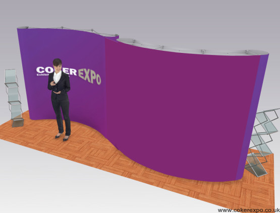 S shaped pop up stand made from two linking curved displays