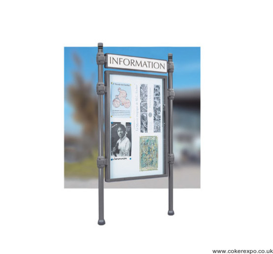 Notice display case with locking doors and header panel heavy duty