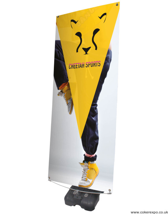 Hydro banner stand with water base for outdoor events