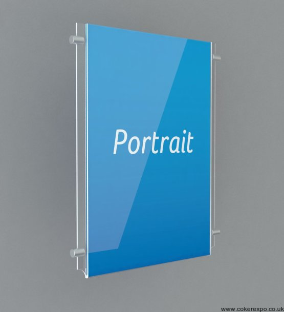 Portrait clear plastic poster holders for wire cable hanging