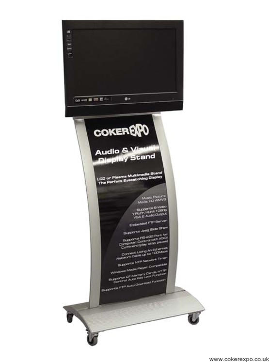 Lcd exhibition display stand with graphic panel.