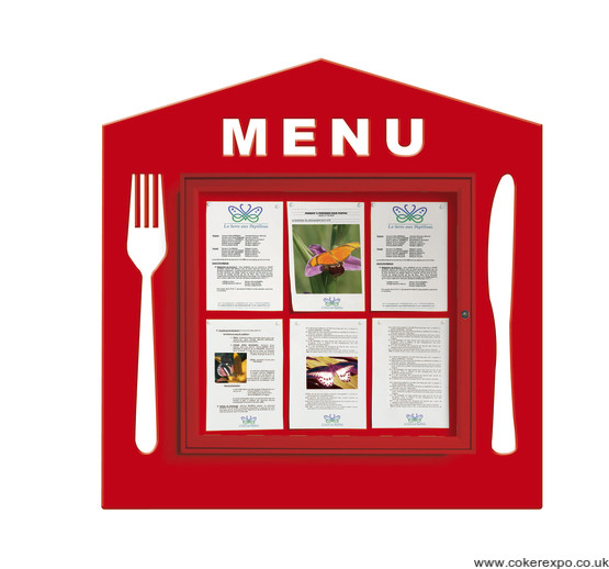 House shape menu board.
