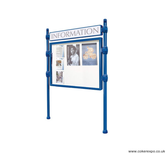 Notice board with header and locking doos