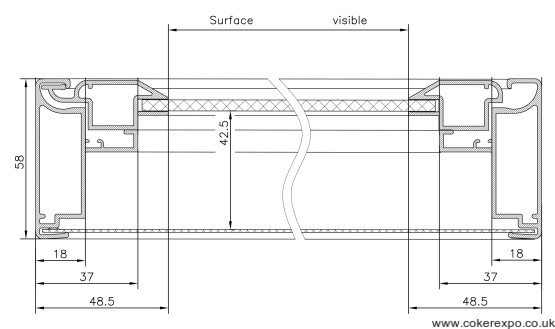 schematic for 58mm deep notice board