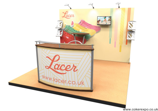 A simple exhibition back wall with fabric graphics
