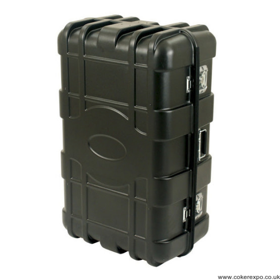 Black wheeled exhibition transport case