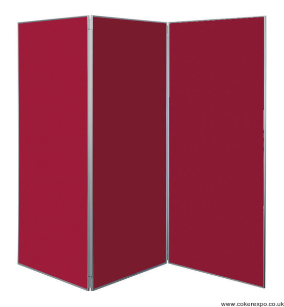 Large folding display stand in burgundy colour fabric