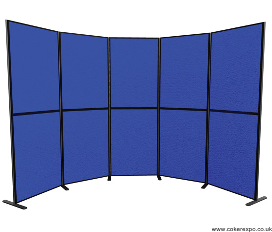 10 Panel and pole display stand in blue fabric