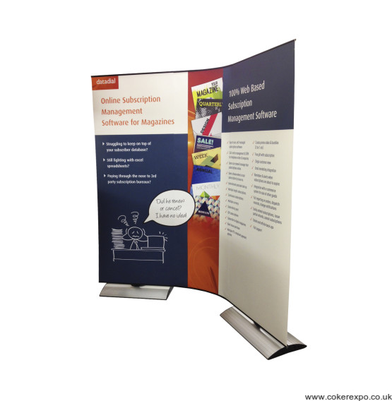 Linking stealth banner stand on a flexi panel
