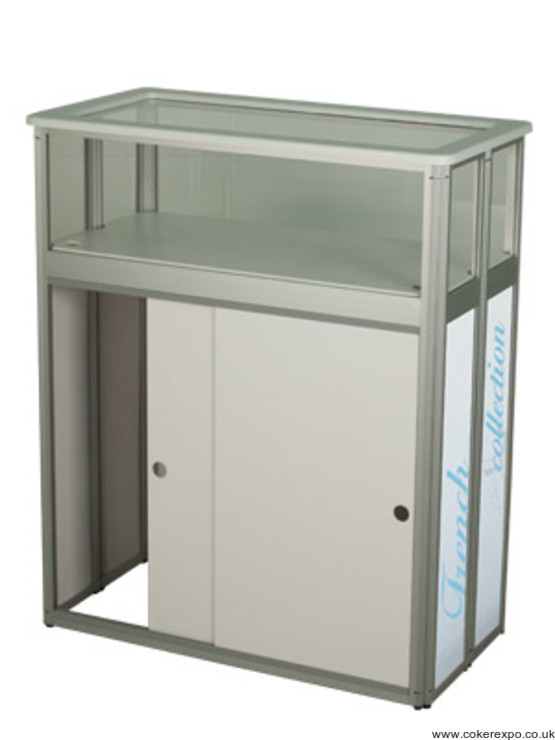 Gear edge display counter with doors