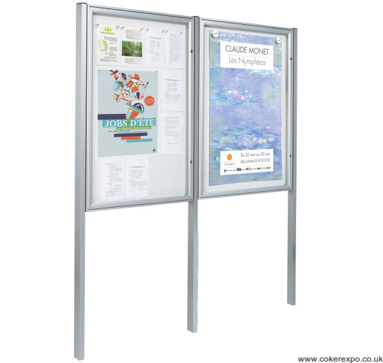 Locking poster display cases with posts twin set
