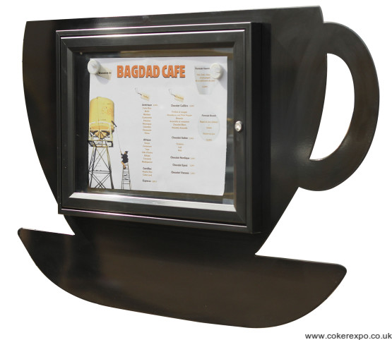 Coffee cup shaped menu case.