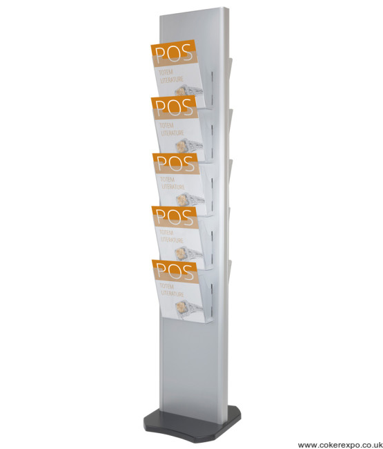 Tower literature stand, A4 acrylic pockets on a pillar and black base