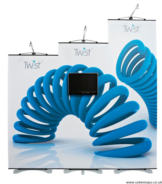 3 twist banner stands showing the height options.