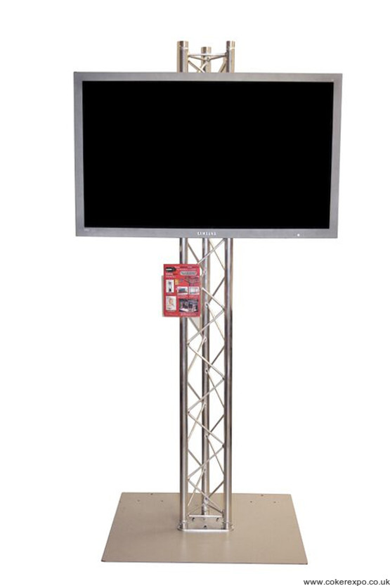 Lcd screen stand in Trio lighting truss with big base plate