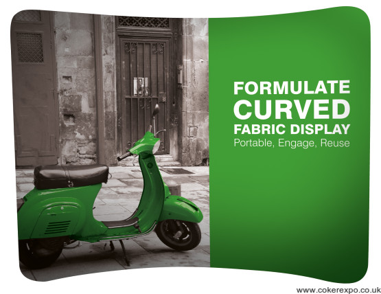 Freeform curved fabric display stand