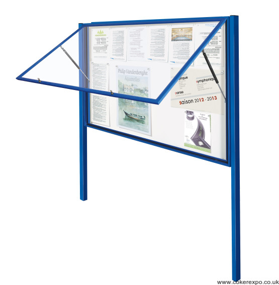 Display case with rising door and posts double size